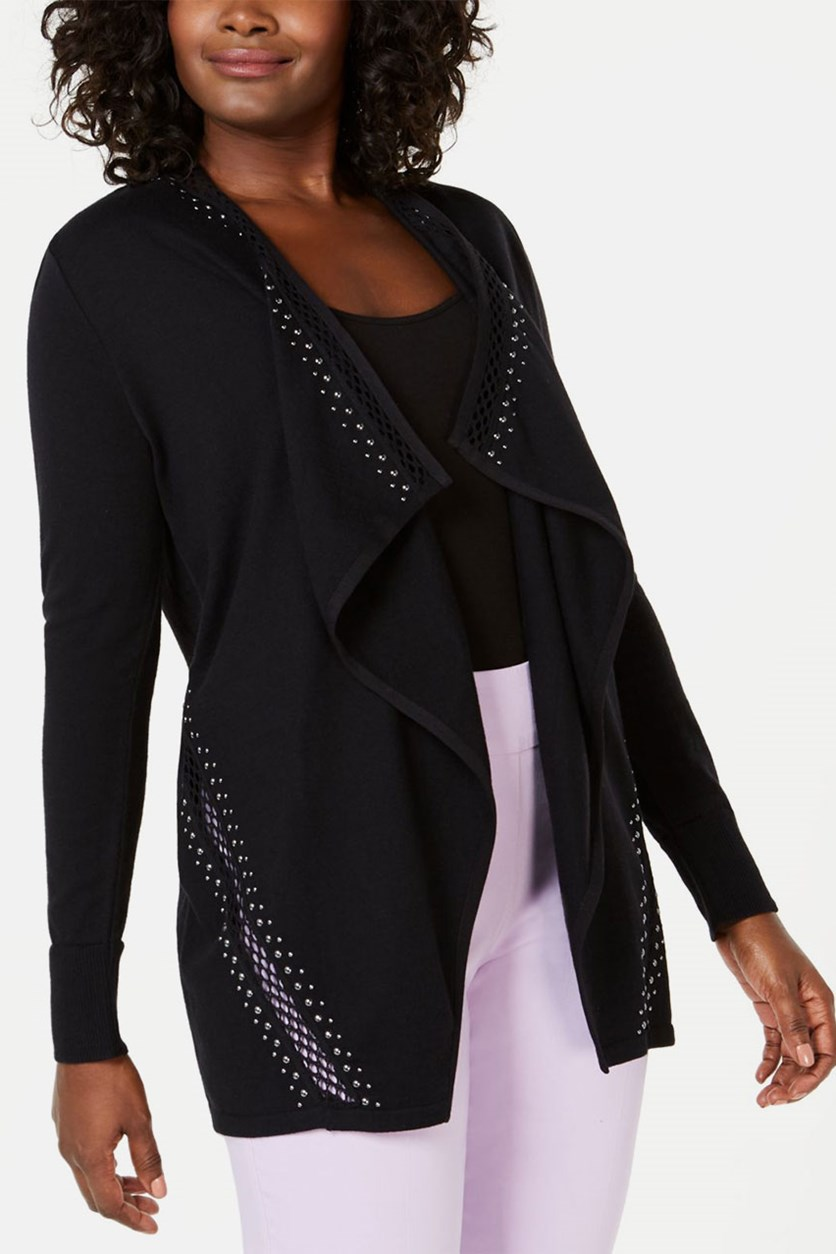 Embellished Draped Cardigan, Black