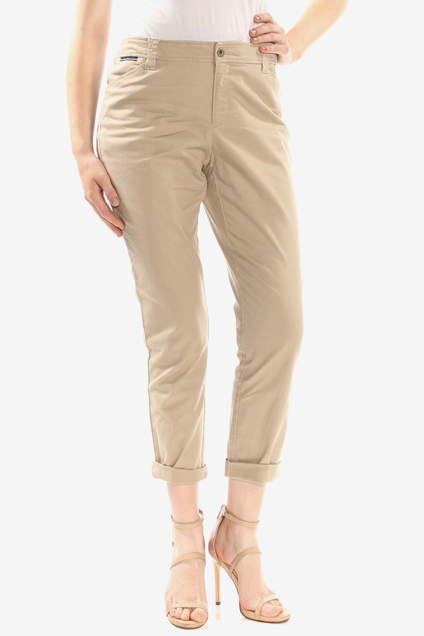 Womens Petites Work Pants, Stone Khaki