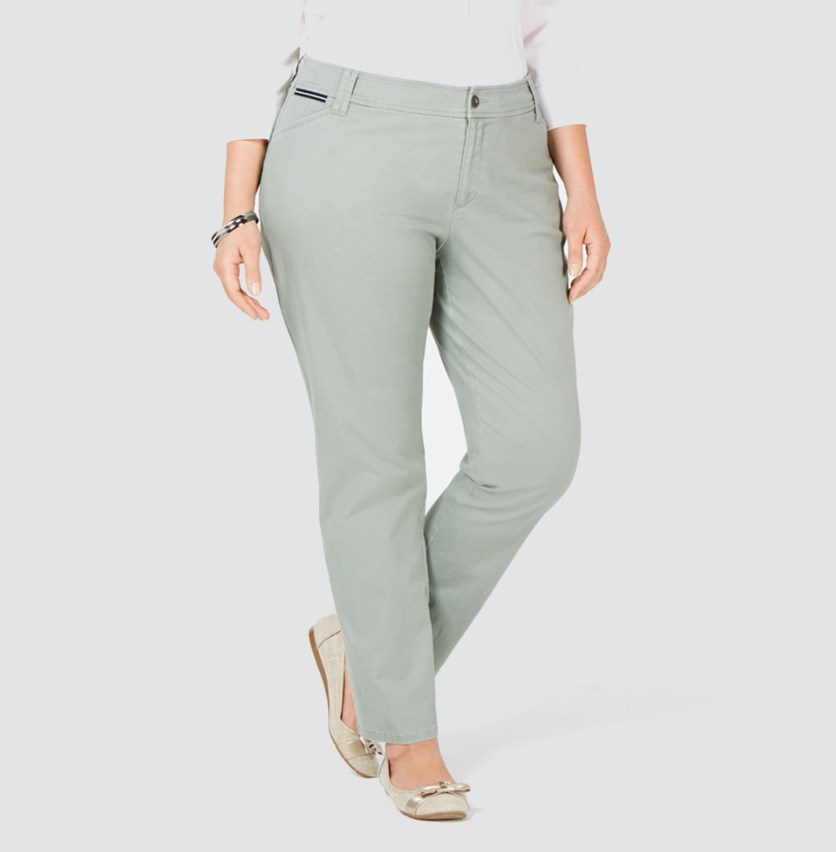 Women's Plus Slim Leg Mid Rise Pants, Light Green
