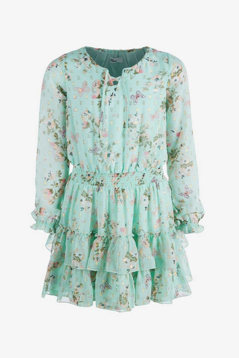 Big Girls Floral-Print Dress, Mint Green