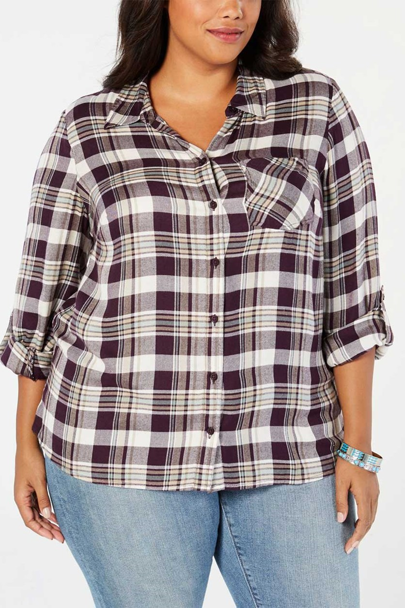 Plus Size Plaid Shirt, Hally Plaid