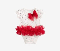 Baby Girls Tulle Tutu & Bow Bodysuit, White/Red
