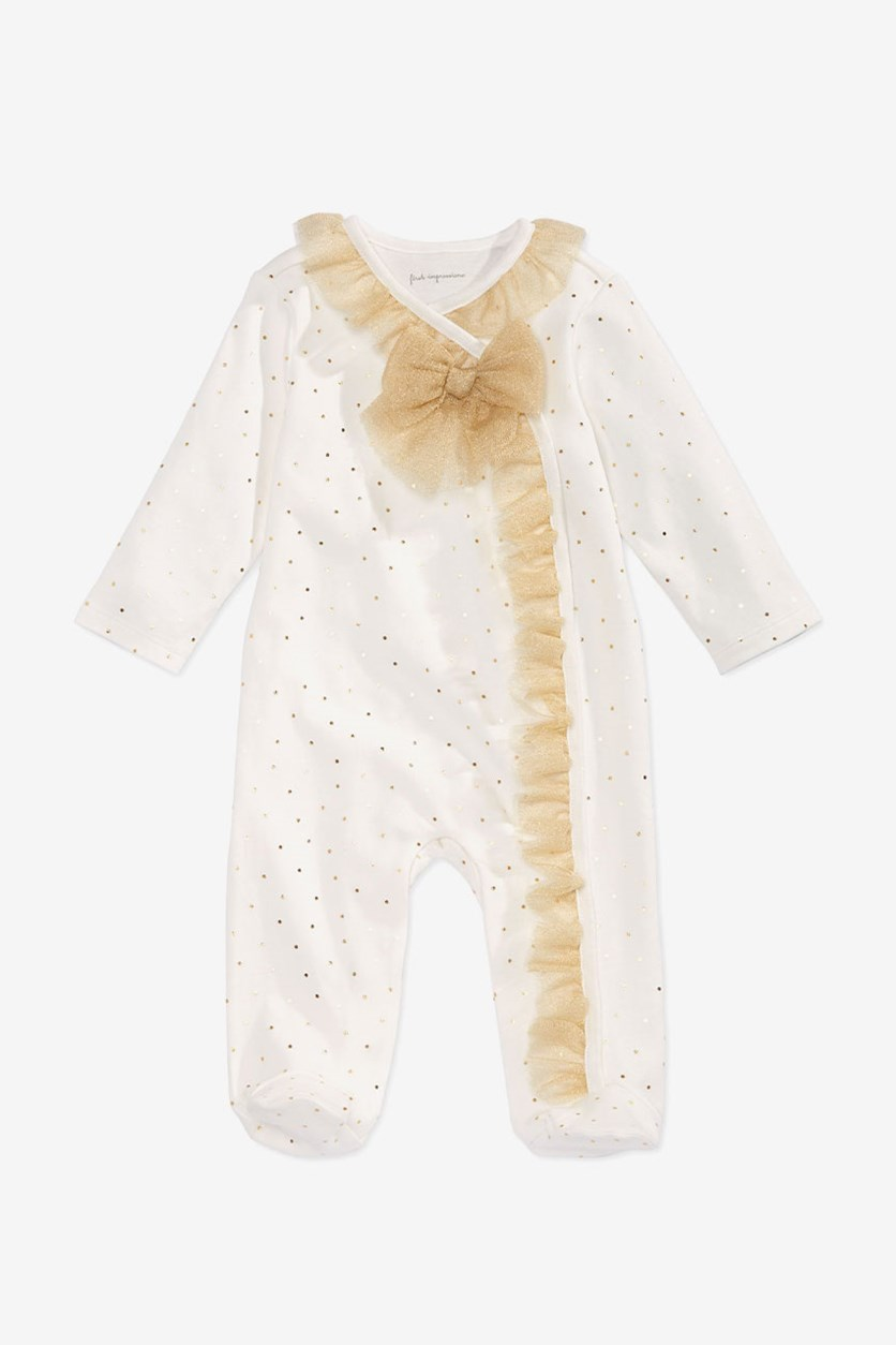 Baby Girls Tulle Coverall, White/Gold