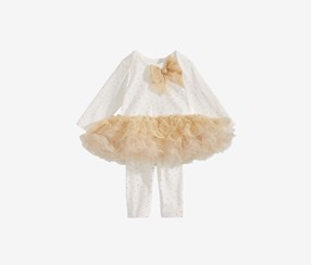 Baby Girls Tutu Top & Leggings Set, White/Gold