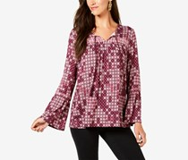 Style & Co Printed Embroidered Peasant Blouse, Tiled Embrace