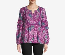 Style & Co Women's Pleated Ruffled Top, Purple