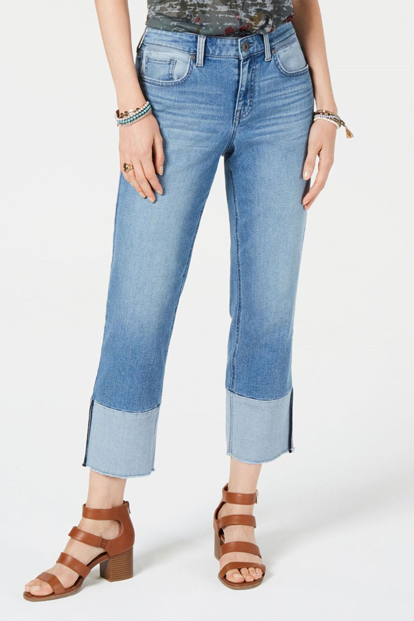 Women's Cuffed Cropped Jeans, Havana