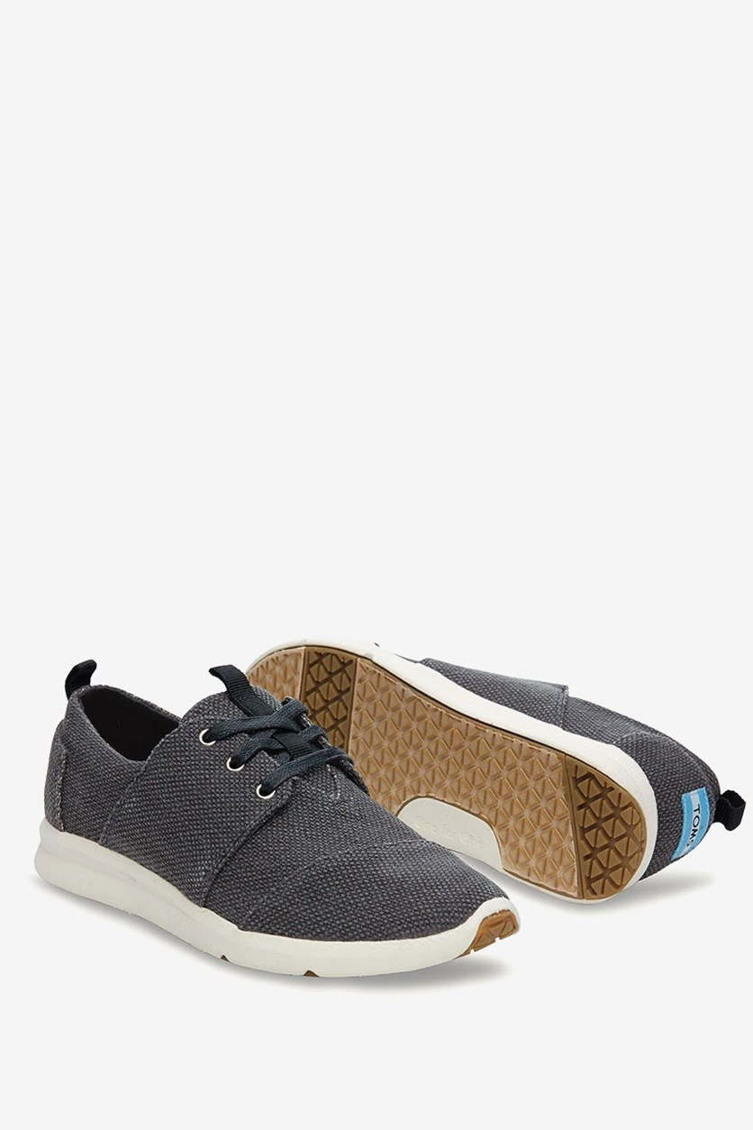 Women Del Rey Sneaker Canvas Textured, Charcoal Grey