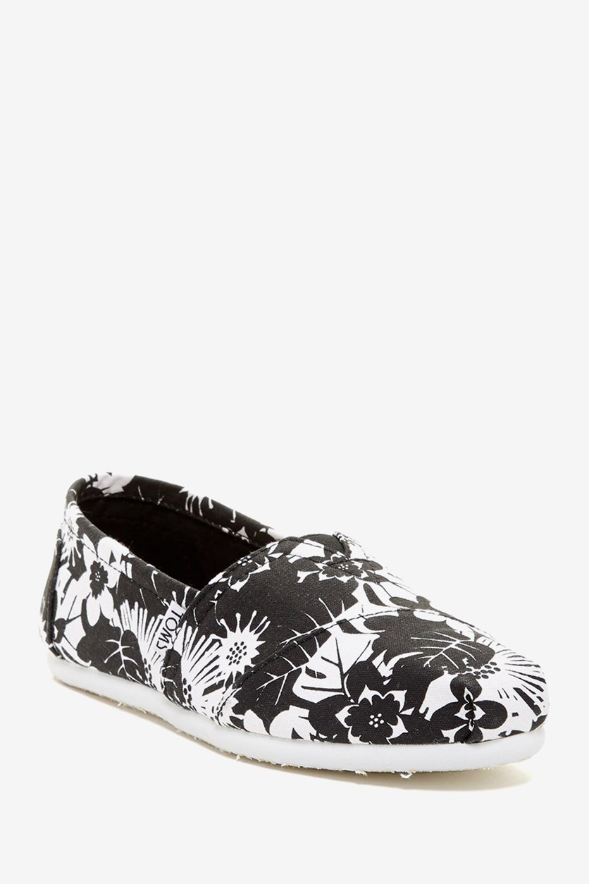 Classic Tropical Print Alpargata Slip-On, Black Combo