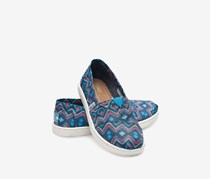 Toms Youth Classics Flat Shoes, Blue Satin Geo Textile