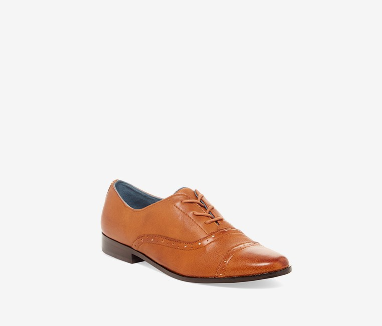 Women's Mocha Brogue Cap Toe Oxford, Warm Tan