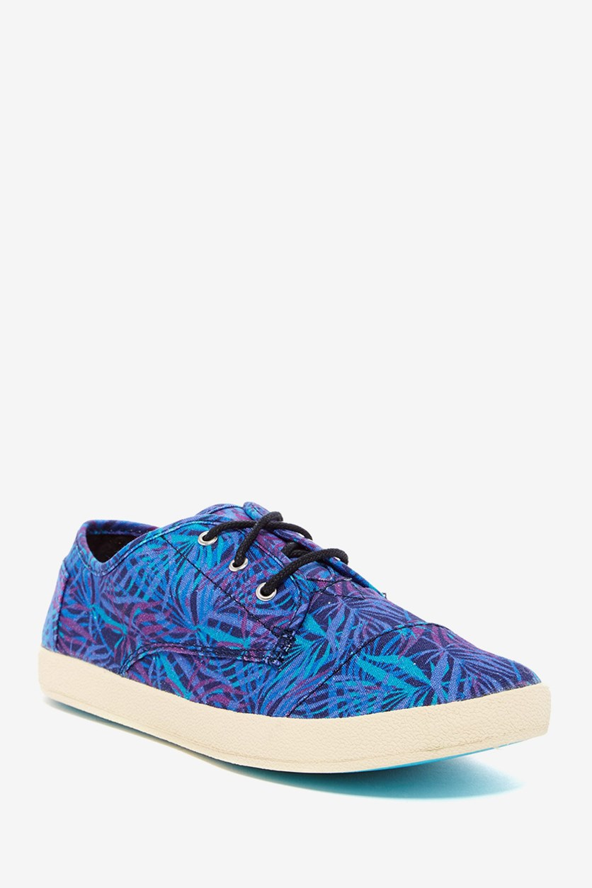 Women's Paseo Canvas Palms Printed Sneaker, Blue