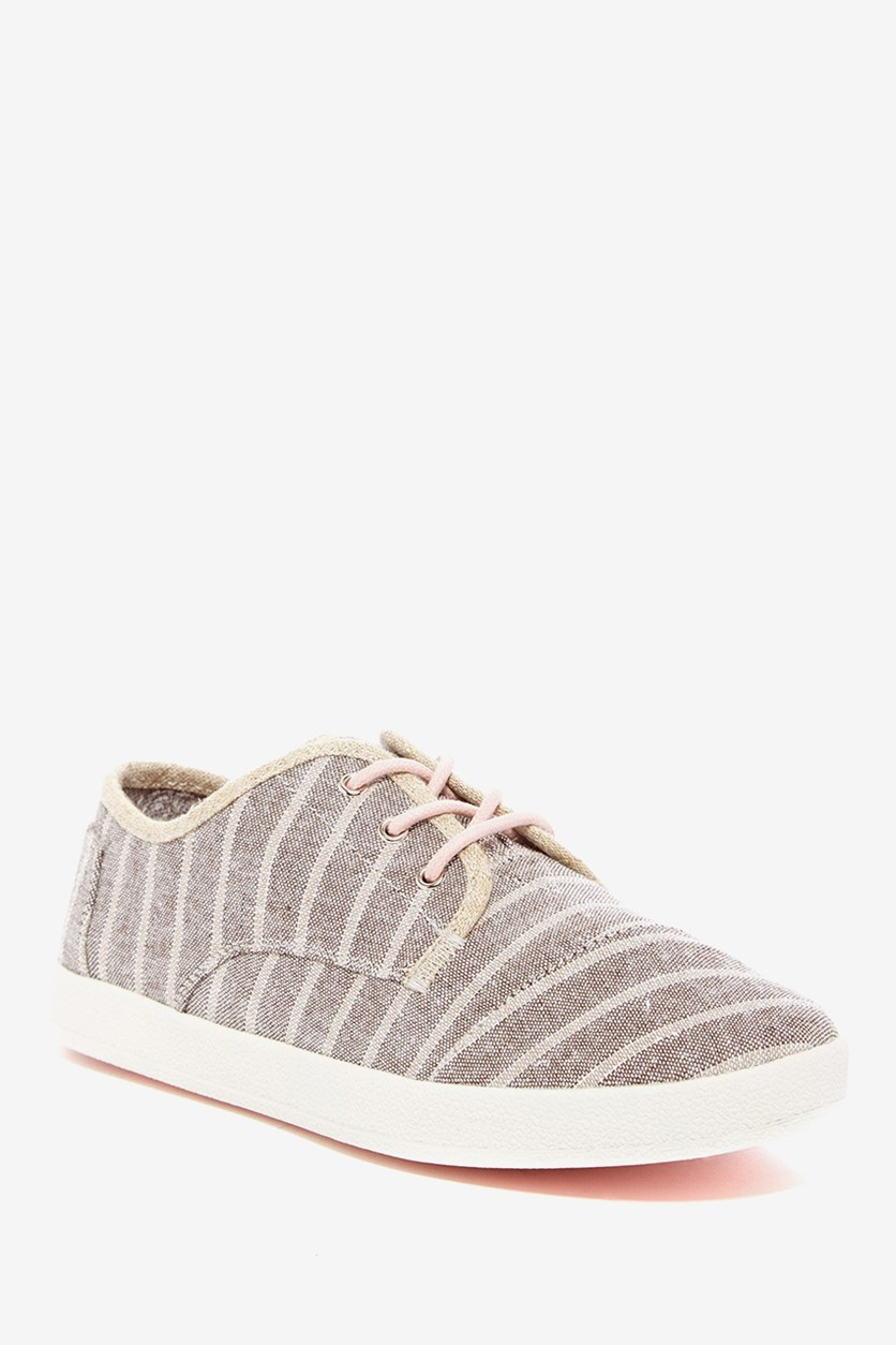 Women's Paseo Metallic Stripe Sneaker, Beige/Grey/Pink