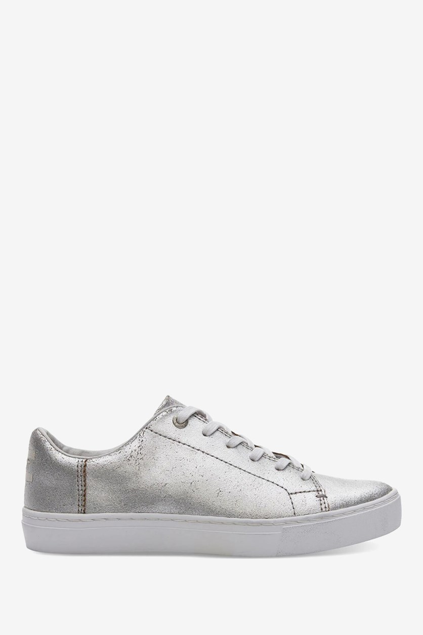 Tom's Women's Metallic Leather Lenox Sneakers, Silver
