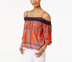 Bcx Women's Printed Off-The-Shoulder Top, Orange