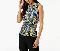 Anne Klein Women's Printed Side-Twist Top, Blue/Yellow