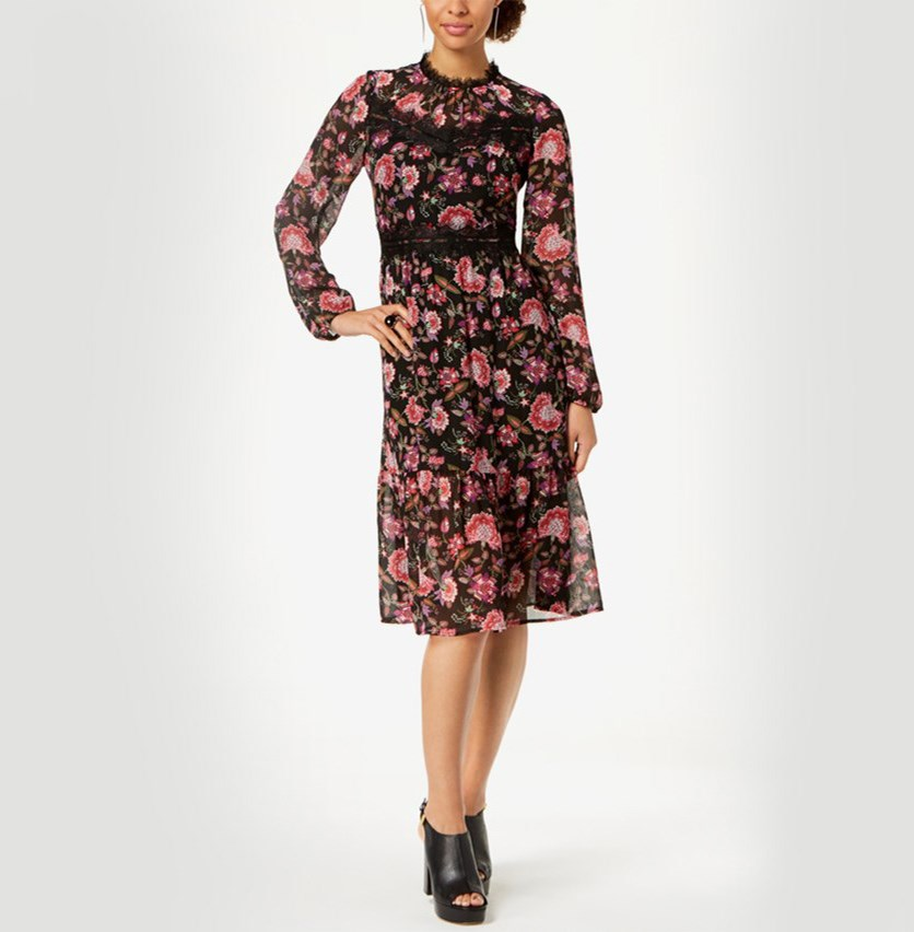 Lace-Trim Floral Chiffon Midi Dress, Black Combo