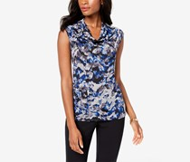 Kasper Cap Sleeve Cowl Neck Smudge Floral Tops, Navy