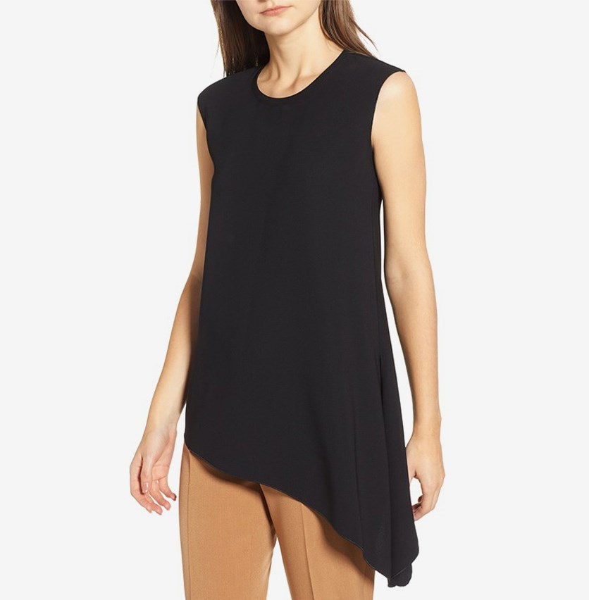 Women's Sleeveless Crepe Blouse, Black