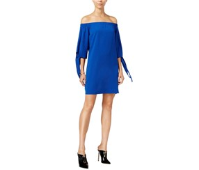Bar III Women's Off The Shoulder Shift Dress, Blue