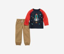 Kids Headquarters Baby Boys 2-Pc. Rocket T-Shirt & Pants Set, Navy/Tan