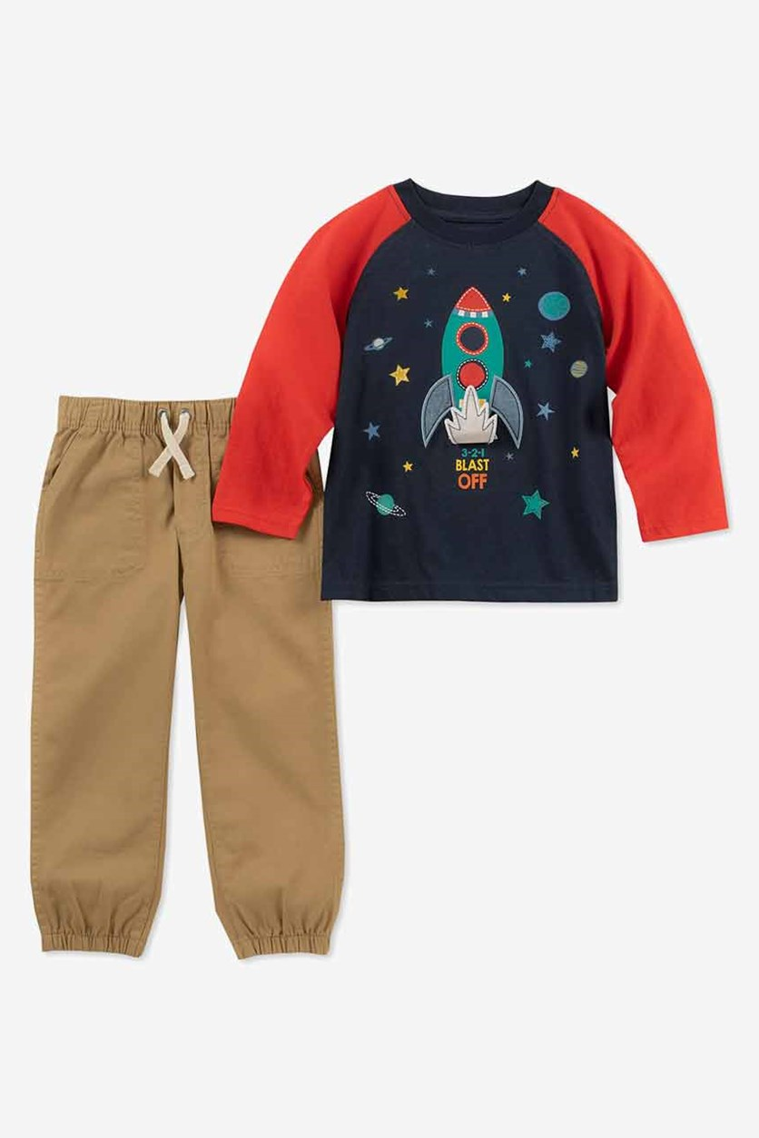 Baby Boys 2-Pc. Rocket T-Shirt & Pants Set, Navy/Tan