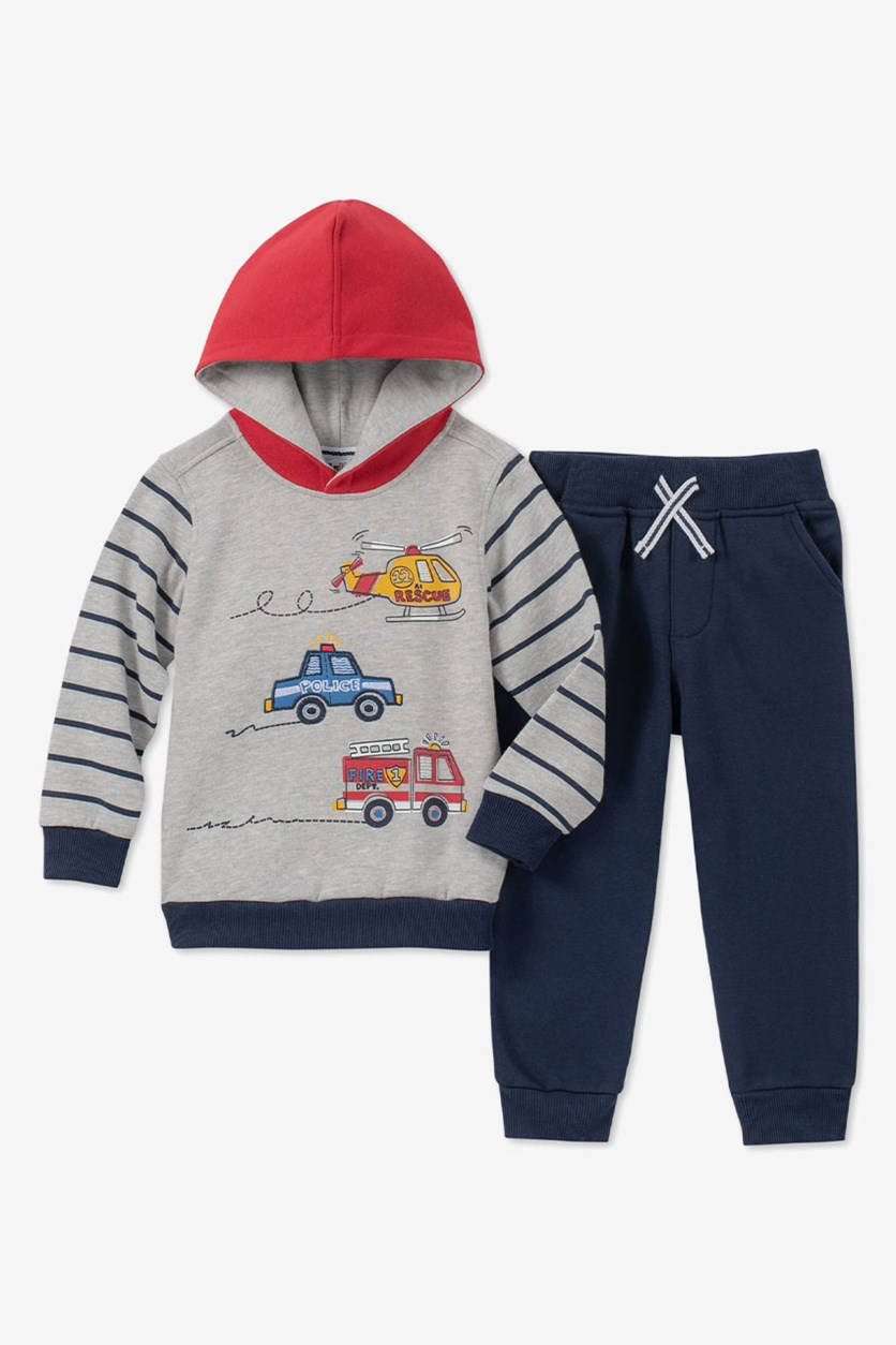 Baby Boys 2-Pc. Vehicles Hoodie & Jogger Pants Set, Navy/Grey/Red