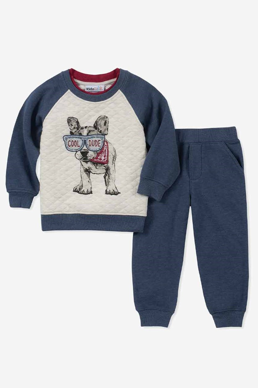 Baby Boys 2-Pc. Dog Hoodie & Jeans Set, Navy Combo