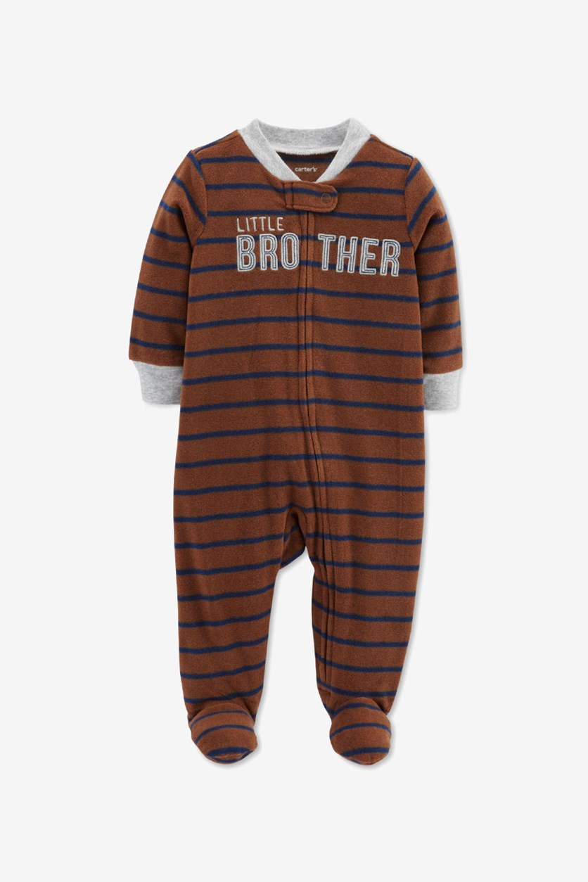 Carter's Baby Boys Striped Little Brother Footed Coverall, Brown