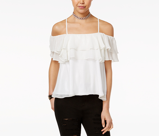 The Edit By Seventeen Women's Off-The-Shoulder Top, White