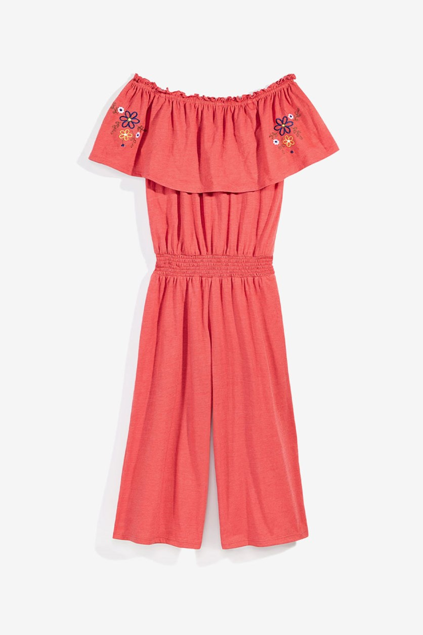 Big Girls Off Shoulder Jumpsuit, Red