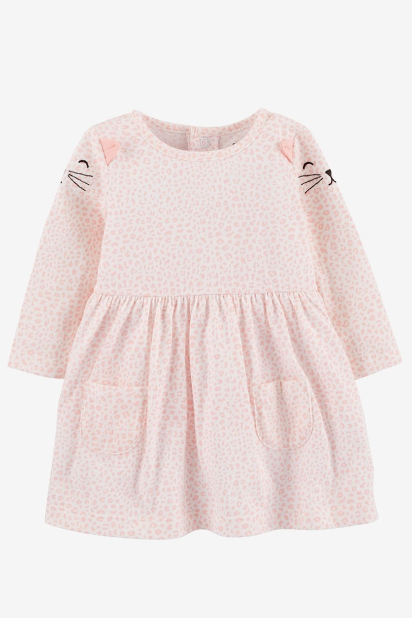Baby Girl Cat Dress with Diaper Cover, Pink/White