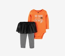 Carter's Baby Girls 2-Pcs. Bodysuit & Tutu Pants Set, Orange/Black