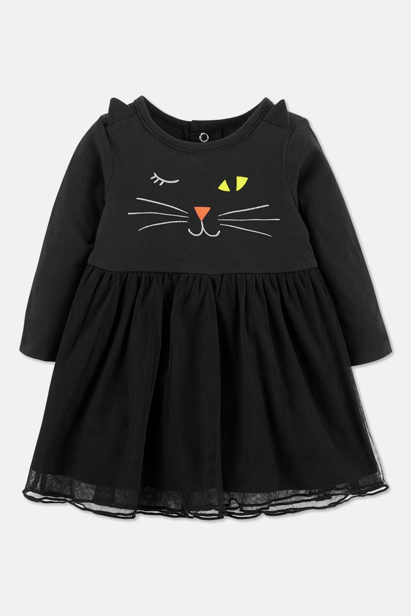 Infant Girls Black Cat Halloween Baby Dress, Black