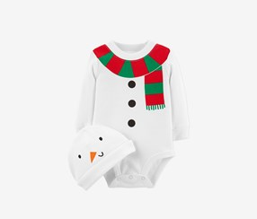 Carter's Baby Boys or Baby Girls Snowman Cotton Bodysuit & Hat, White