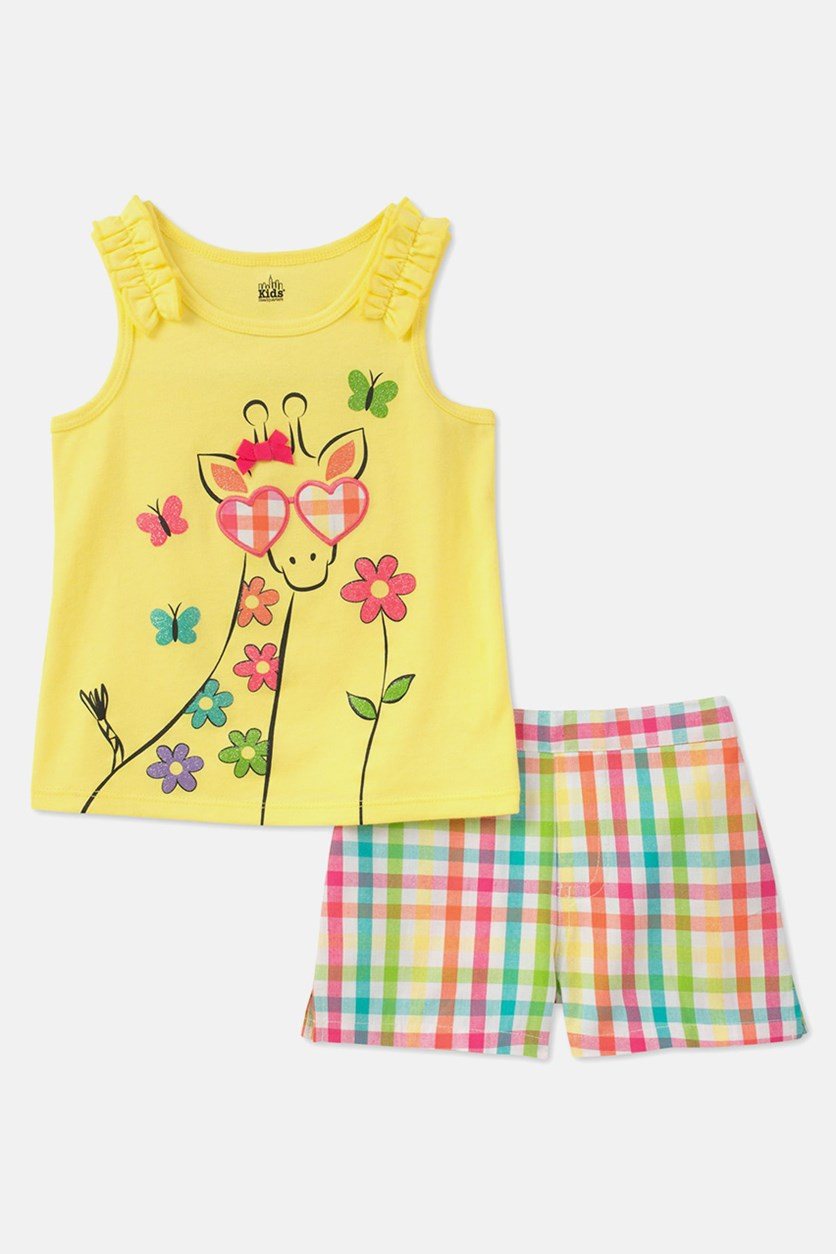 Baby Girls 2-Pc. Giraffe Top & Plaid Shorts, Yellow Combo