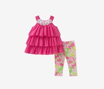 Kids Headquarters Toddlers 2-Pc. Ruffle Tunic Leggings Set, Floral Pink