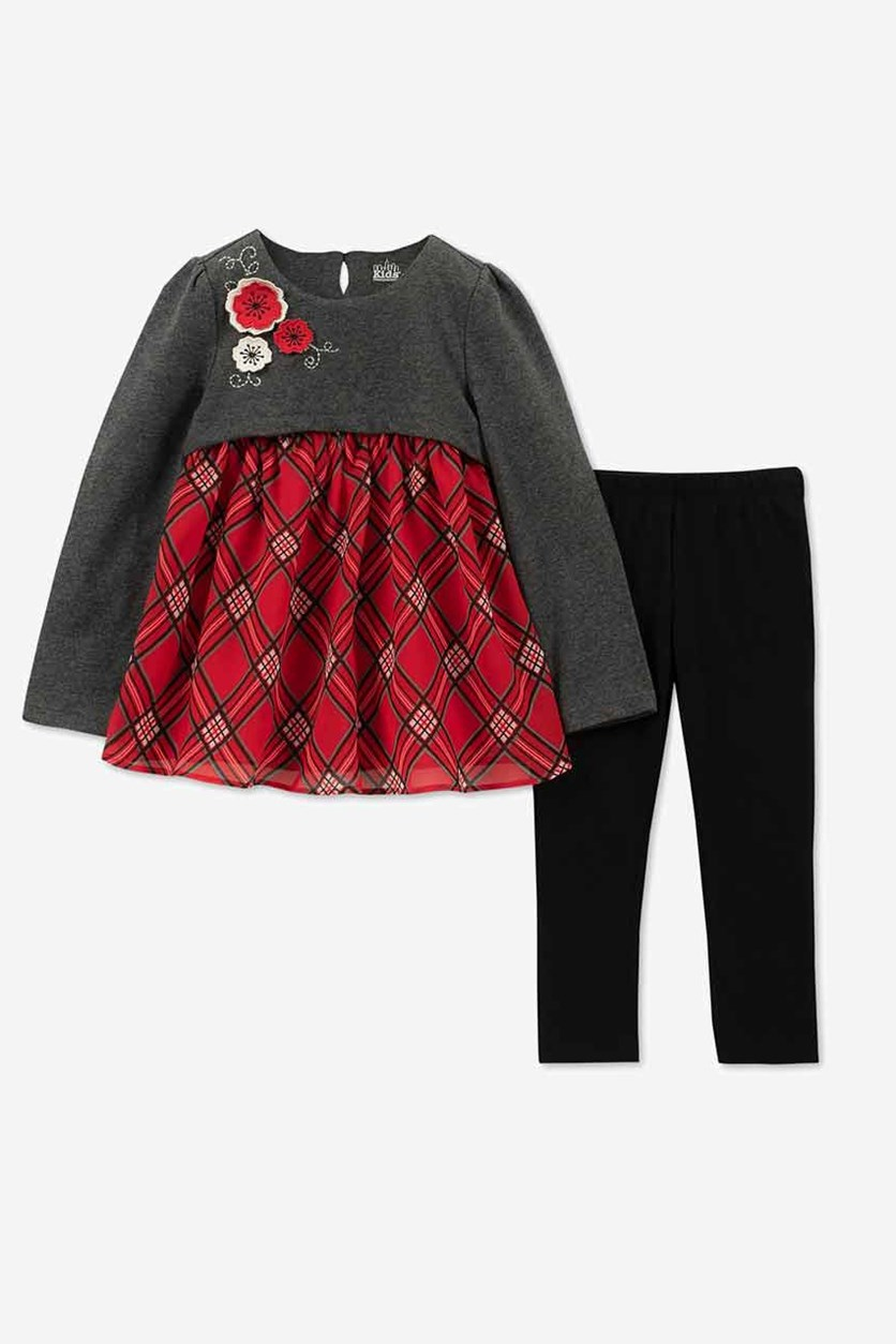 Baby Girls 2-Pc. Plaid Tunic & Leggings Set, Black/Grey/Red