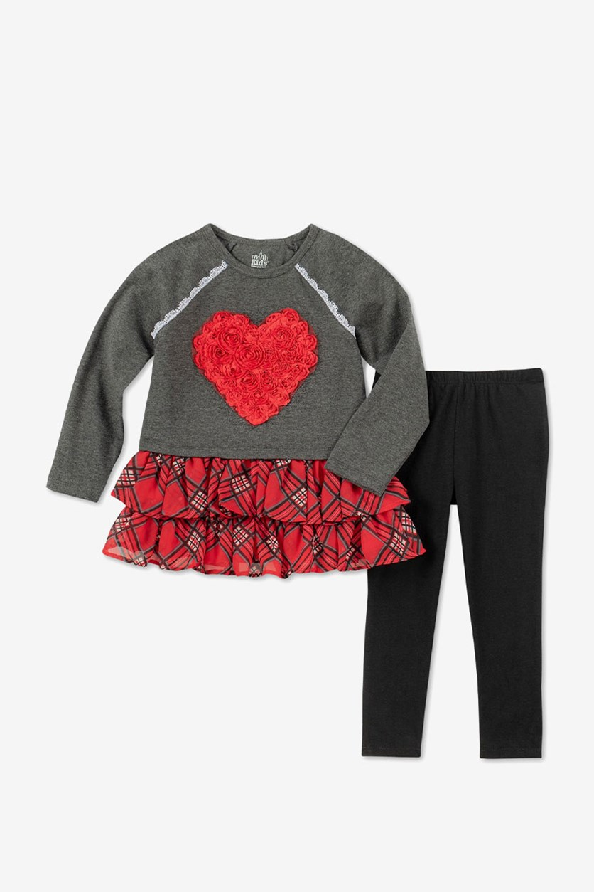 Baby Girls Heart Tunic & Leggings Set, Grey/Black