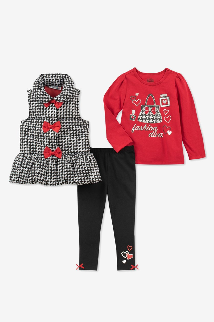 Baby Girls 3-Pcs. Bows Vest, Diva-Print T-Shirt & Leggings Set, Black/Red Combo