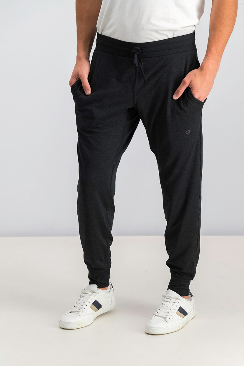 Men's Brushed Tech Jersey Joggers Pants, Black