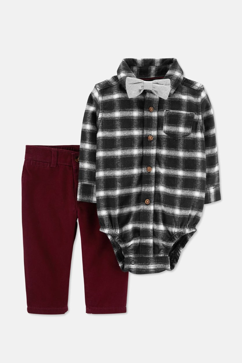 Baby's Checkered Bodysuit And Pants, Black/Maroon