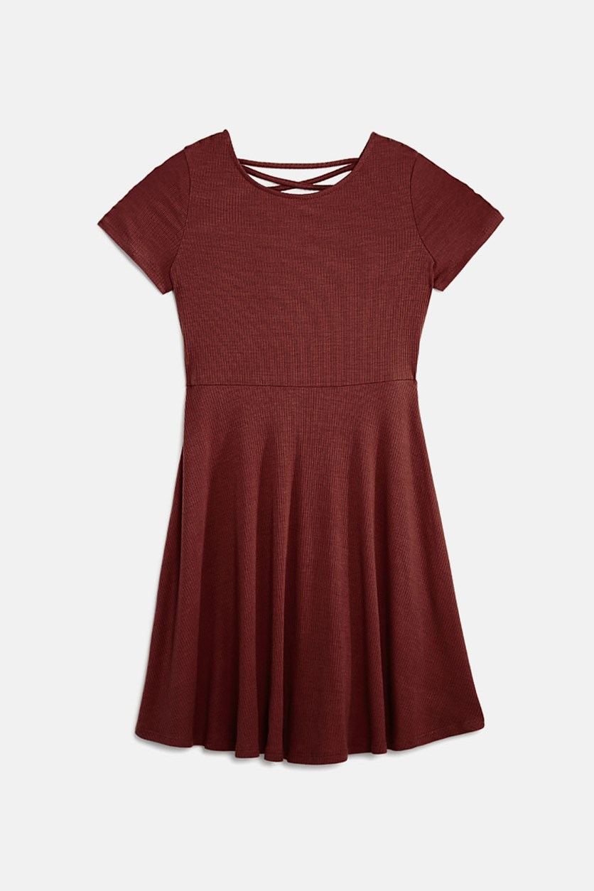 Girls' Crisscross-Back Skater Dress, Terracotta