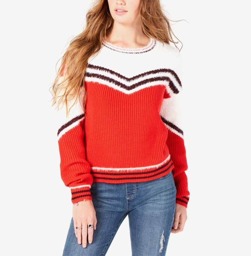 Women's Long Sleeve Eyelash-Trim Striped Sweater, Red/White