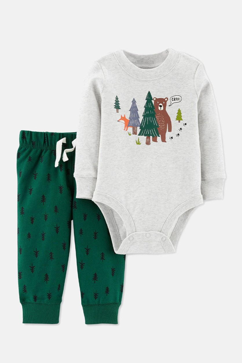 Toddlers Bear Forest Bodysuit & French Terry Tree Pants Set, Gray/Green