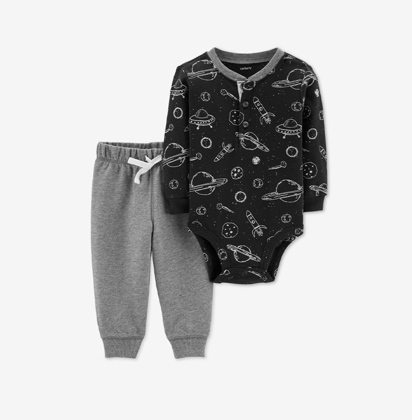 Baby Boys Bodysuit & Jogger Pants Set, Black Gray