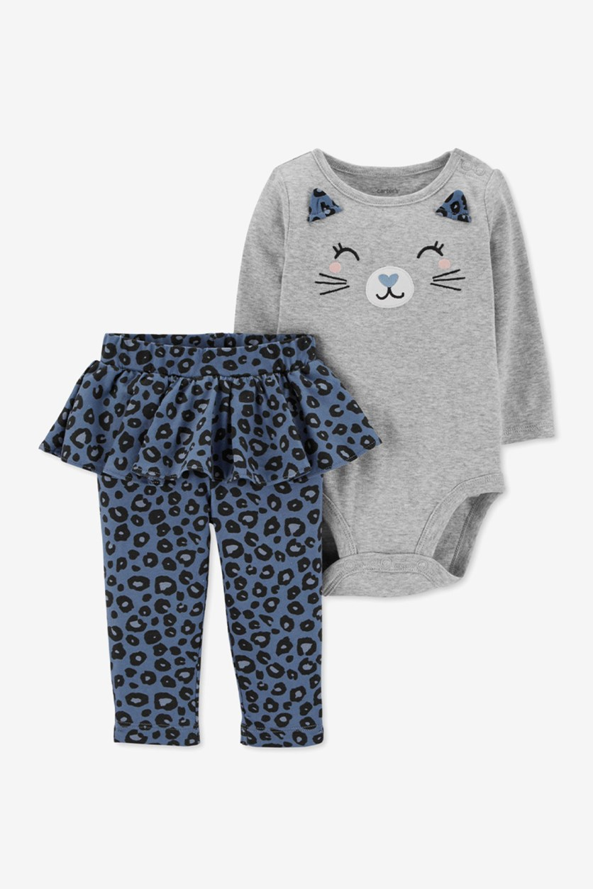 Baby Girls 2-Pc. Cotton Cat Print Top & Leggings Set, Gray/Blue/Black