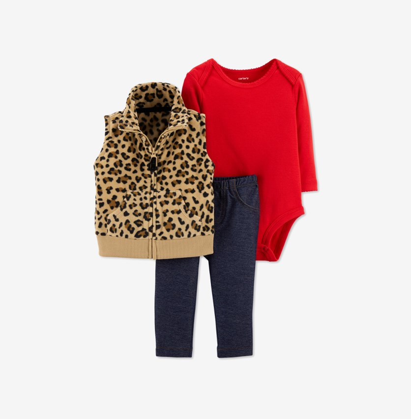 Baby Girls 3-Pc. Animal-Print Vest, Bodysuit & Pants Set, Brown/Red/Navy
