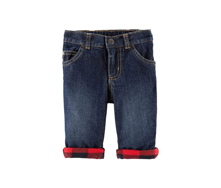 Carter's Baby Boys Pull-On Cuffed Cotton Jeans, Navy