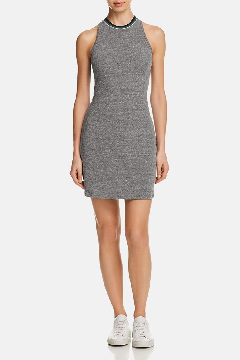 Womens Natasha Bodycon Stripe Tank Dress, Heather Charcoal